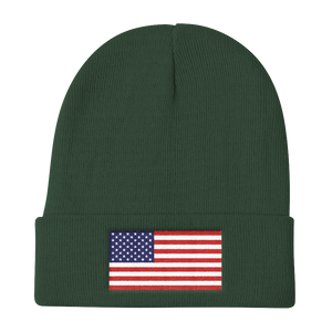 "Dark green United States Flag ""Solo"" Knit Beanie by Design Express"