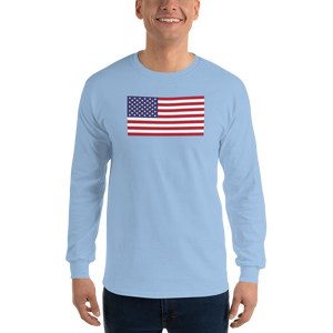 "Light Blue / S United States Flag ""Solo"" Long Sleeve T-Shirt by Design Express"