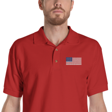 "Red / S United States Flag ""Solo"" Embroidered Polo Shirt by Design Express"