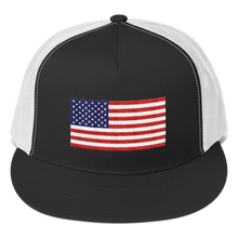 "Black/ White United States Flag ""Solo"" Trucker Cap by Design Express"