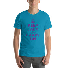 Aqua / S Keep Calm and Carry On (Purple) Short-Sleeve Unisex T-Shirt by Design Express