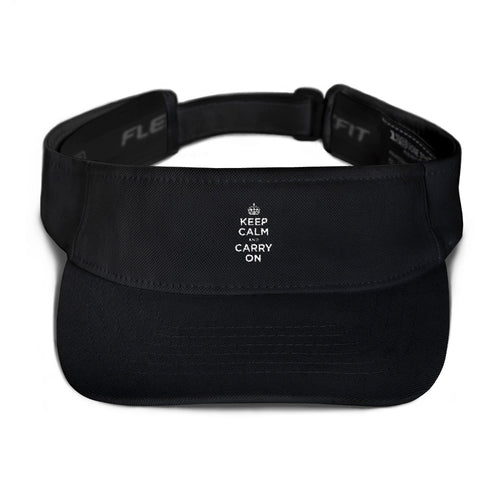 Black Keep Calm and Carry On (White) Visor by Design Express
