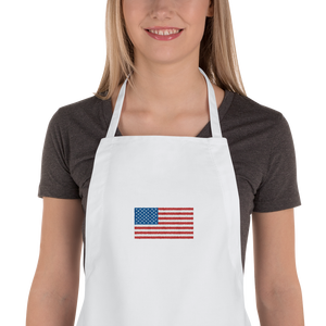 "White United States Flag ""Solo"" Embroidered Apron by Design Express"