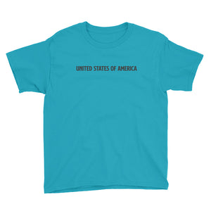 Caribbean Blue / XS United States Of America Eagle Illustration Backside Youth Short Sleeve T-Shirt by Design Express