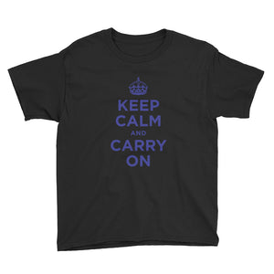 Black / XS Keep Calm and Carry On (Navy Blue) Youth Short Sleeve T-Shirt by Design Express