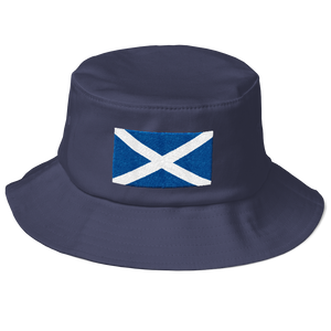 "Navy Scotland Flag ""Solo"" Old School Bucket Hat by Design Express"
