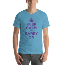 Ocean Blue / S Keep Calm and Carry On (Purple) Short-Sleeve Unisex T-Shirt by Design Express