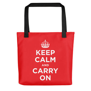 Black Keep Calm and Carry On (Red White) Tote bag Totes by Design Express