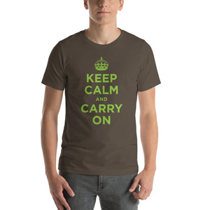Army / S Keep Calm and Carry On (Green) Short-Sleeve Unisex T-Shirt by Design Express