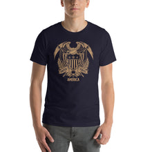 Navy / XS United States Of America Eagle Illustration Gold Reverse Short-Sleeve Unisex T-Shirt by Design Express