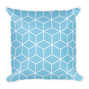 Diamonds Light Blue Square Premium Pillow