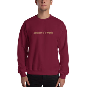 Maroon / S United States Of America Eagle Illustration Reverse Gold Backside Sweatshirt by Design Express