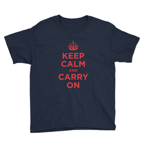 Navy / XS Keep Calm and Carry On (Red) Youth Short Sleeve T-Shirt by Design Express