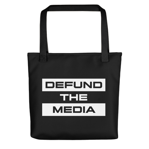 Defund The Media Extended Black Tote bag