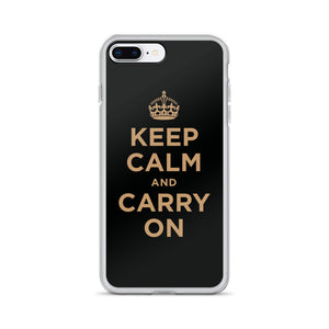 iPhone 7 Plus/8 Plus Keep Calm and Carry On (Black Gold) iPhone Case iPhone Cases by Design Express