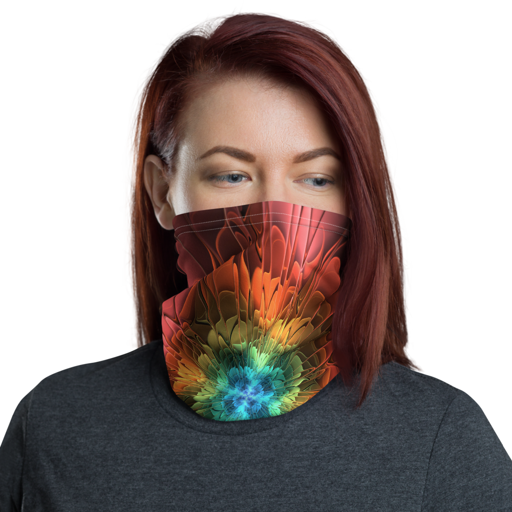 Default Title Abstract Flower 03 Neck Gaiter Masks by Design Express