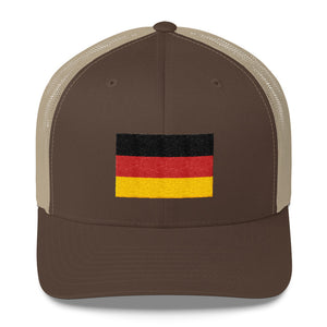 Brown/ Khaki Germany Flag Embroidered Trucker Cap by Design Express