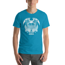 Aqua / S United States Of America Eagle Illustration Reverse Short-Sleeve Unisex T-Shirt by Design Express