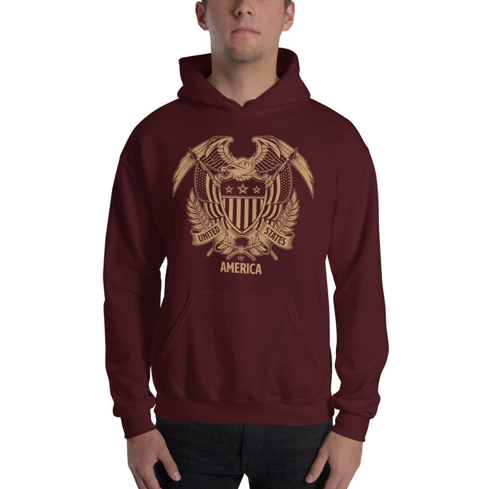 United States Of America Eagle Illustration Gold Reverse Hooded Sweatshirt