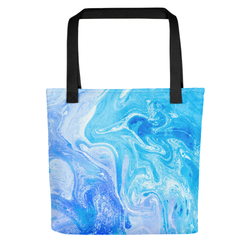 Default Title Blue Watercolor Marble Tote Bag by Design Express