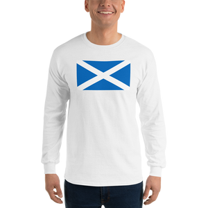 "White / S Scotland Flag ""Solo"" Long Sleeve T-Shirt by Design Express"