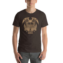 Brown / S United States Of America Eagle Illustration Gold Reverse Short-Sleeve Unisex T-Shirt by Design Express