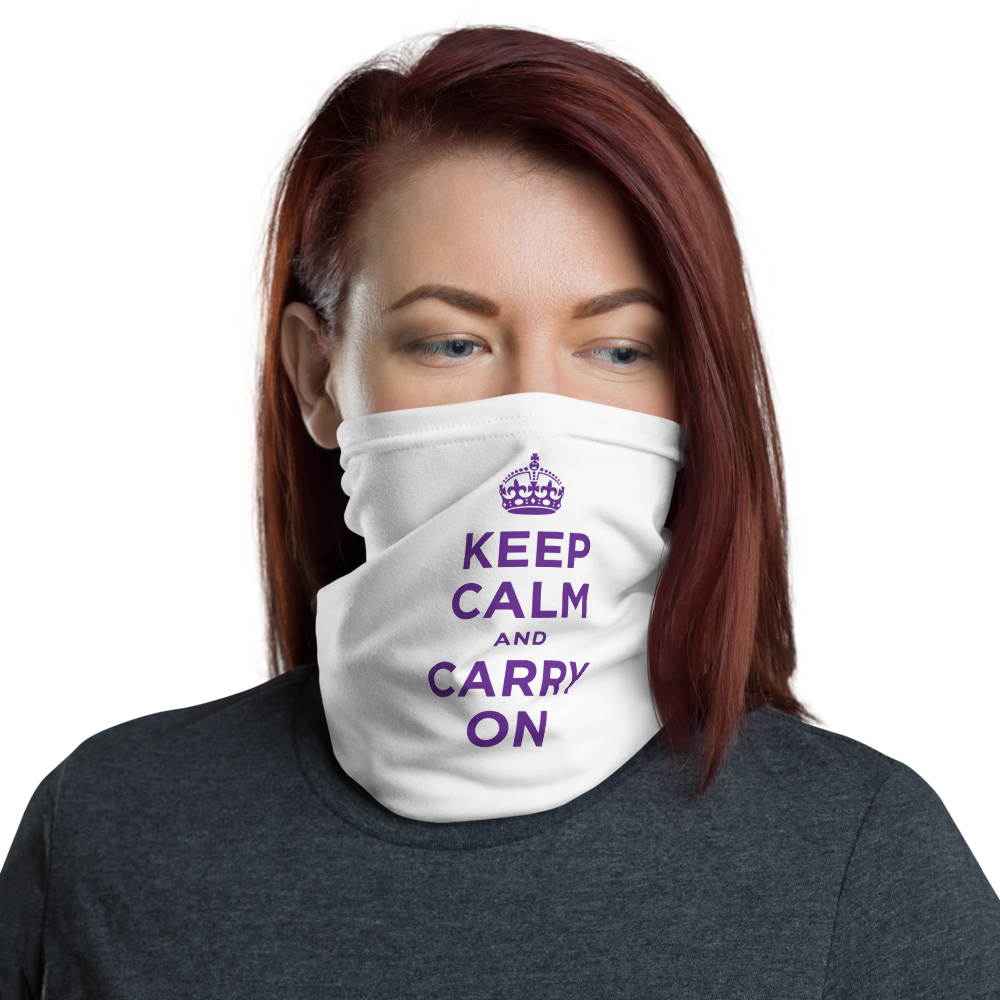 Default Title Purple Keep Calm & Carry On Neck Gaiter Masks by Design Express