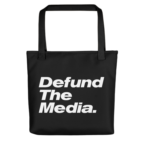 Defund The Media Italic Smallcaps Black Tote bag