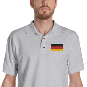 Sport Grey / S Germany Flag Embroidered Polo Shirt by Design Express