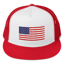 "Red/ White/ Red United States Flag ""Solo"" Trucker Cap by Design Express"