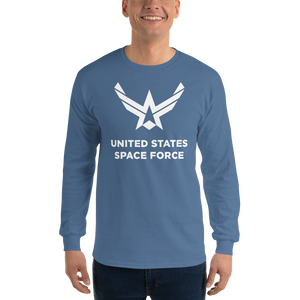 "Indigo Blue / S United States Space Force ""Reverse"" Long Sleeve T-Shirt by Design Express"