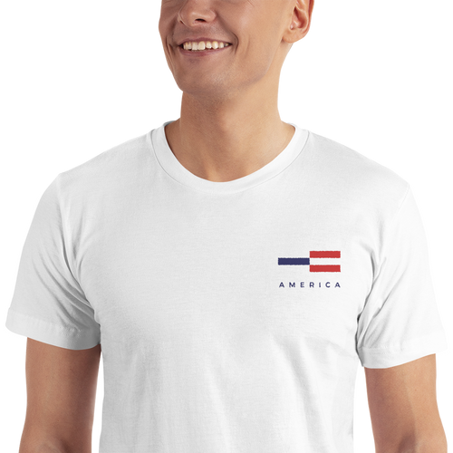 S America Tower Pattern Embroidered T-Shirt by Design Express