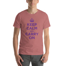 Mauve / S Keep Calm and Carry On (Purple) Short-Sleeve Unisex T-Shirt by Design Express
