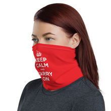 Red Keep Calm & Carry On Face & Neck Gaiter Masks by Design Express