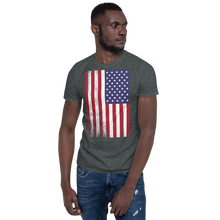Dark Heather / S US Flag Distressed Short-Sleeve Unisex T-Shirt by Design Express