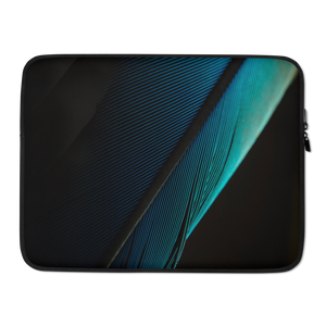 15 in Blue Black Feather Laptop Sleeve by Design Express