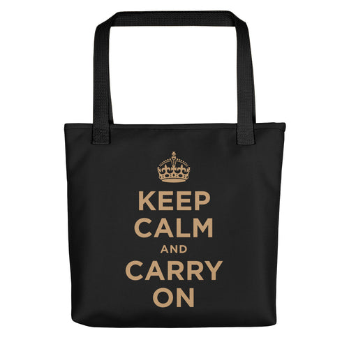 Black Keep Calm and Carry On (Black Gold) Tote bag Totes by Design Express