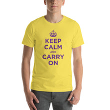 Yellow / S Keep Calm and Carry On (Purple) Short-Sleeve Unisex T-Shirt by Design Express