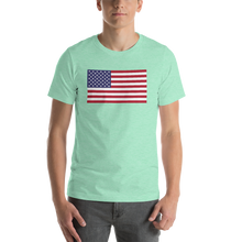 "Heather Mint / S United States Flag ""Solo"" Short-Sleeve Unisex T-Shirt by Design Express"