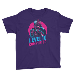 Purple / XS Darth Vader Level 10 Completed Youth Short Sleeve T-Shirt by Design Express