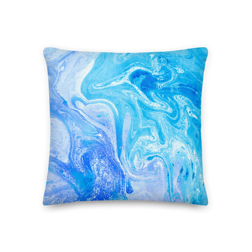 18×18 Blue Watercolor Marble Square Premium Pillow by Design Express