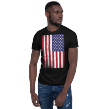 Black / S US Flag Distressed Short-Sleeve Unisex T-Shirt by Design Express