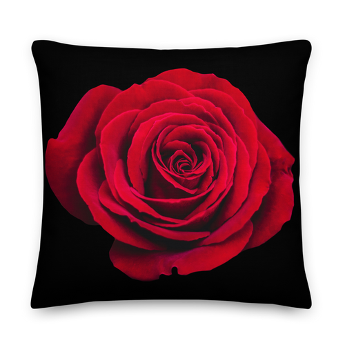 22×22 Charming Red Rose Square Premium Pillow by Design Express