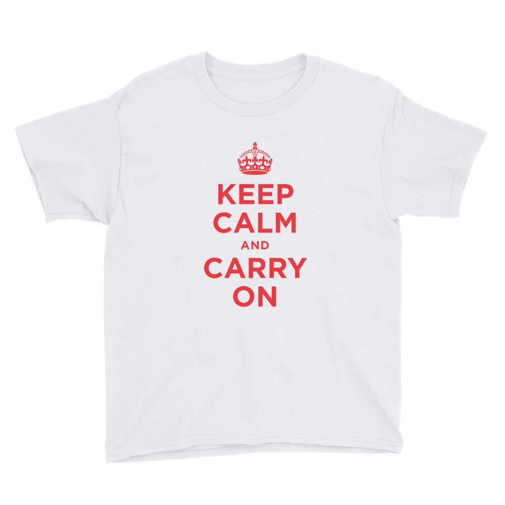 White / XS Keep Calm and Carry On (Red) Youth Short Sleeve T-Shirt by Design Express