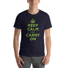 Navy / XS Keep Calm and Carry On (Green) Short-Sleeve Unisex T-Shirt by Design Express