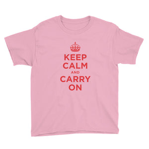 CharityPink / XS Keep Calm and Carry On (Red) Youth Short Sleeve T-Shirt by Design Express