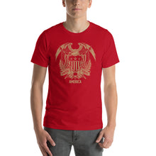 Red / S United States Of America Eagle Illustration Gold Reverse Short-Sleeve Unisex T-Shirt by Design Express