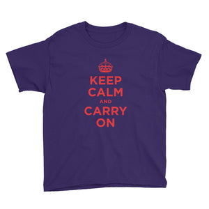 Purple / XS Keep Calm and Carry On (Red) Youth Short Sleeve T-Shirt by Design Express