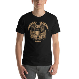 Black / XS United States Of America Eagle Illustration Gold Reverse Short-Sleeve Unisex T-Shirt by Design Express