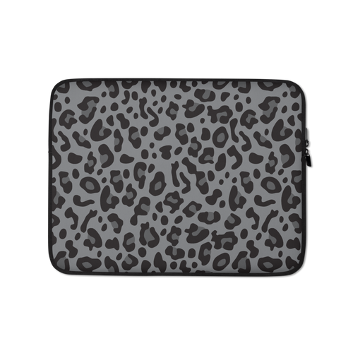 13 in Grey Leopard Print Laptop Sleeve by Design Express